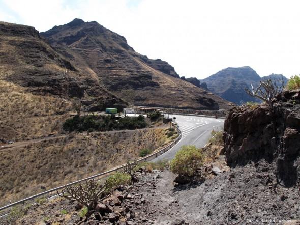 Degollada de La Aldea - punto de inicio y final a la ruta por Inagua Parque Natural de Inagua - Gran Canaria