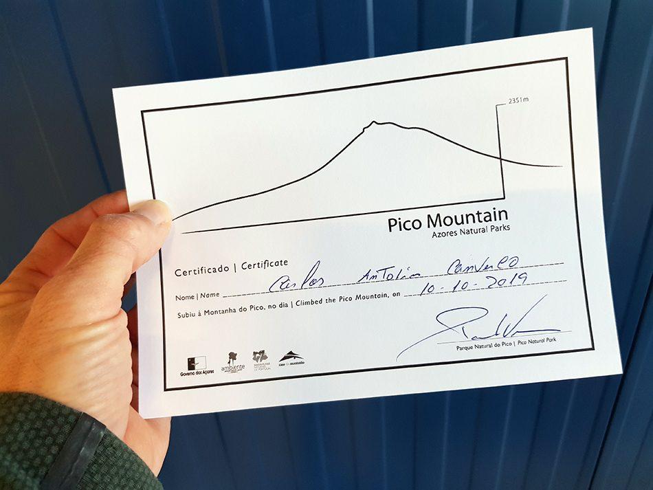 Pico Mountain - Certificado - Piquinho